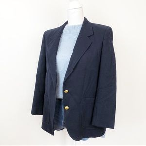 Vintage 100 Wool Preppy Navy Women's Career Blazer